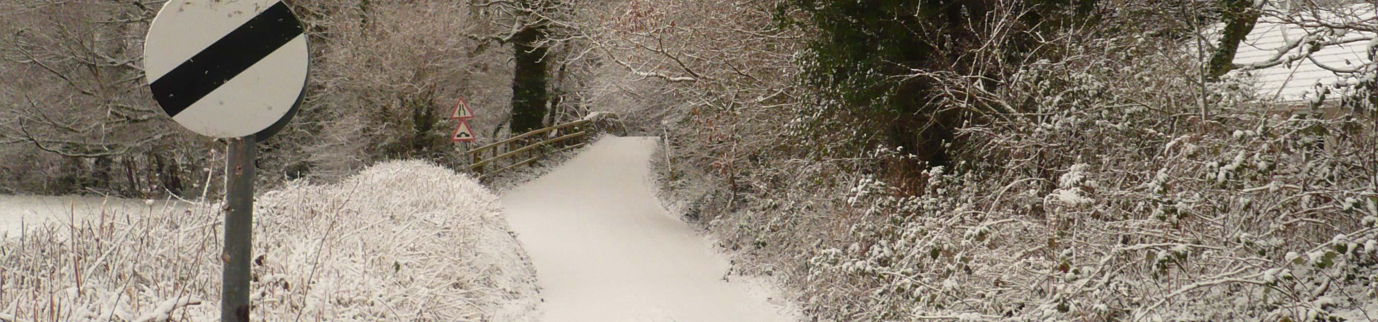 View of Devil's Backbone Bridge in winter
