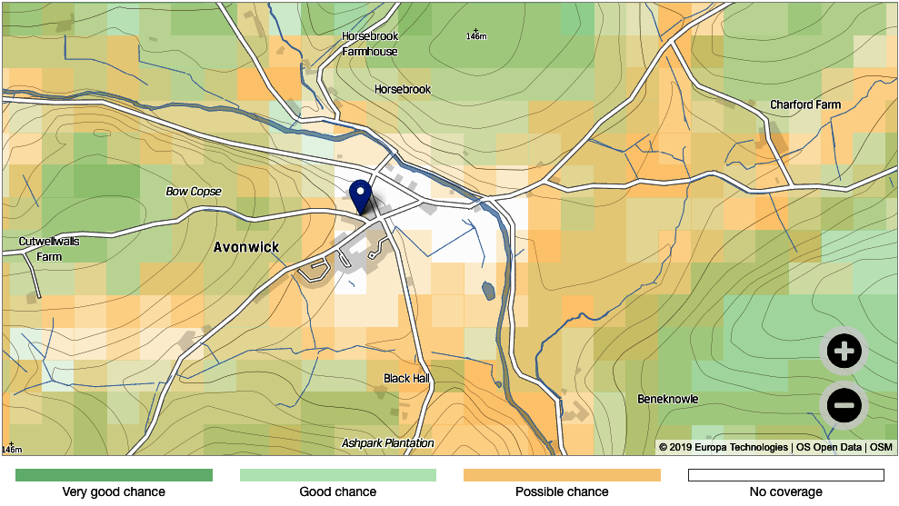 Map showing that most of Avonwick has no signal