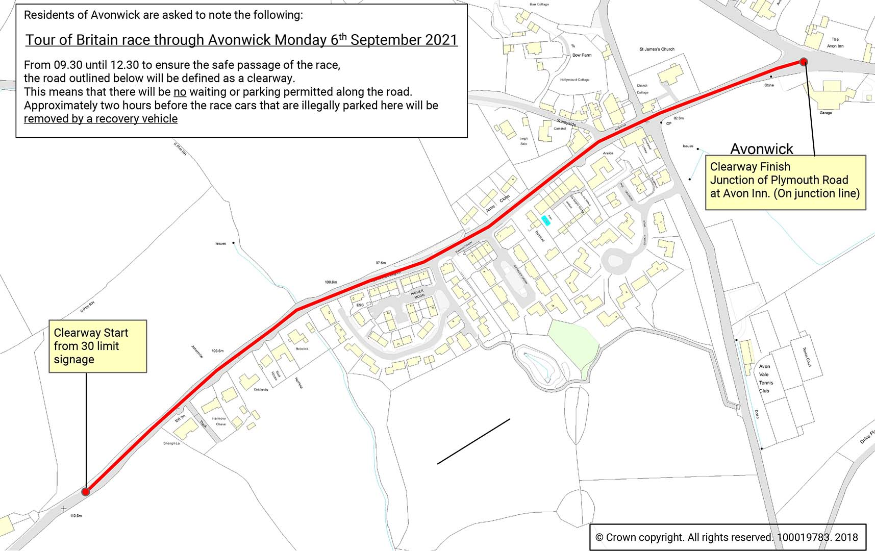 Map showing Clearway in Avonwick on 6th September.